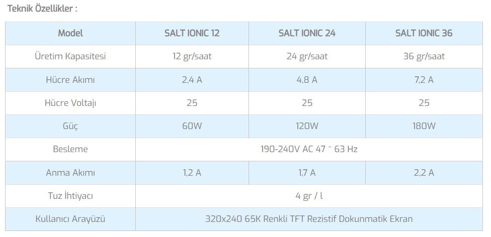Salt Ionic A Tuz Klor Jeneratörü